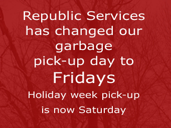 Garbage pick-up day is now Fridays, click to go to news page